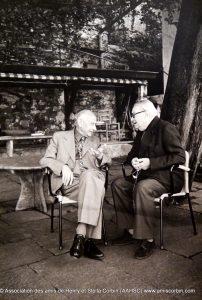 Eranos 1977 - Scholem et Corbin, sur la terrasse sous les cèdres