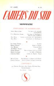 Cahiers du Sud 1963
