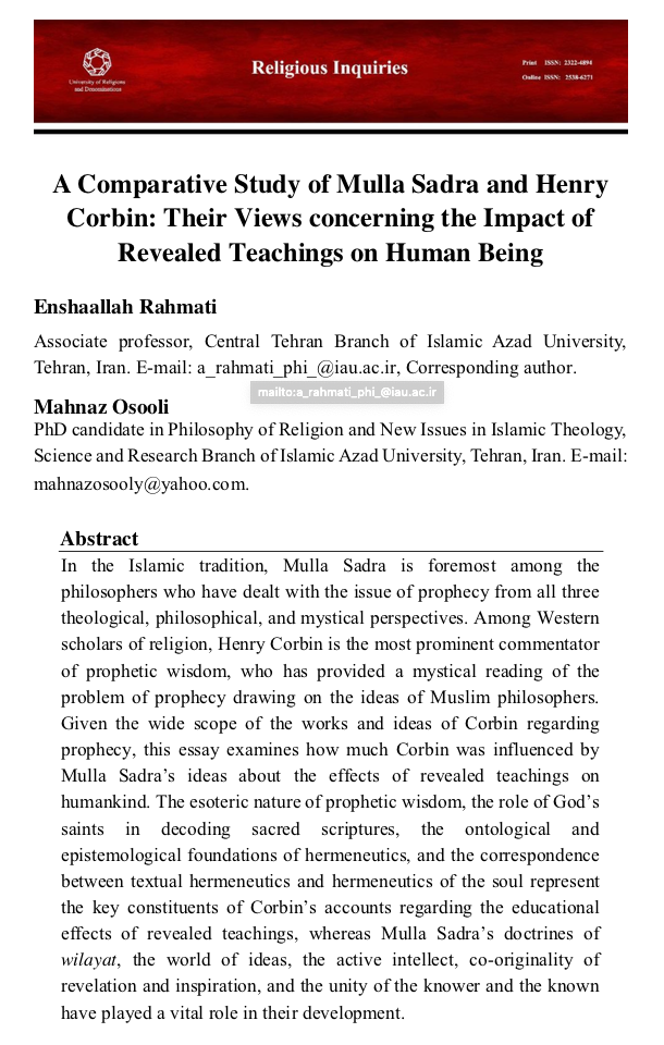 « A Comparative Study of Mulla Sadra and Henry Corbin